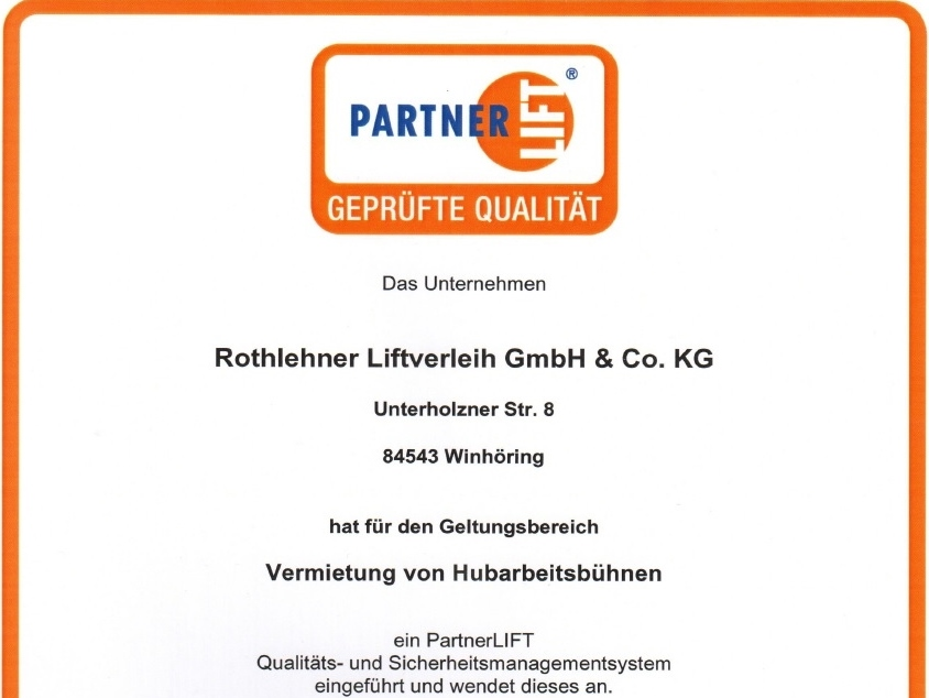 PartnerLift QS Zertifikat Liftverleih