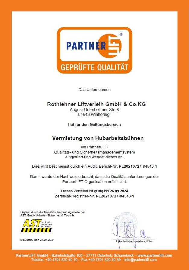 PartnerLift QS Zertifikat Liftverleih
