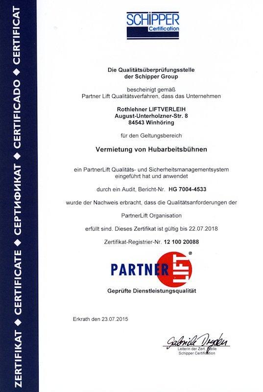 QS-Zertifikat PartnerLift